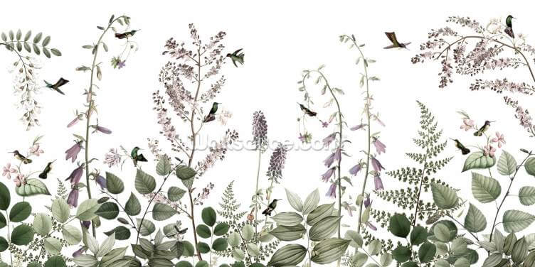 Hummingbirds Hedge 2 Wallpaper Wall Murals