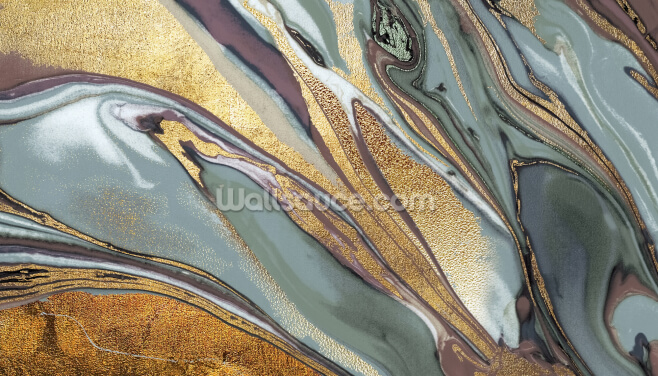 Sage Gold Agate Wallpaper Wall Murals