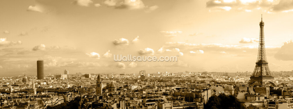 Paris Skyline Panoramic Wallpaper Wall Murals