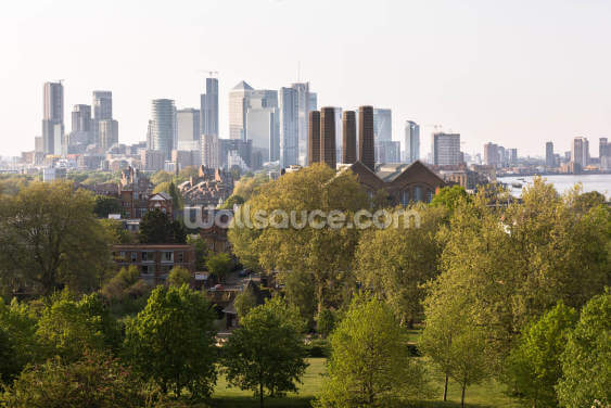 Canary Wharf from Greenwich Park Wallpaper Wall Murals