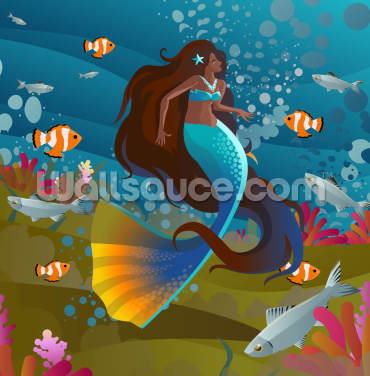 Blue Star Fish Mermaid Wallpaper Wall Murals