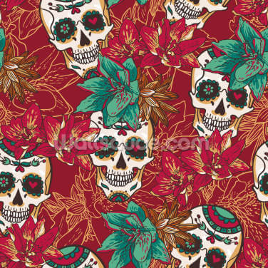 Tattoo - Skull Hearts and Flowers Wallpaper Wall Murals