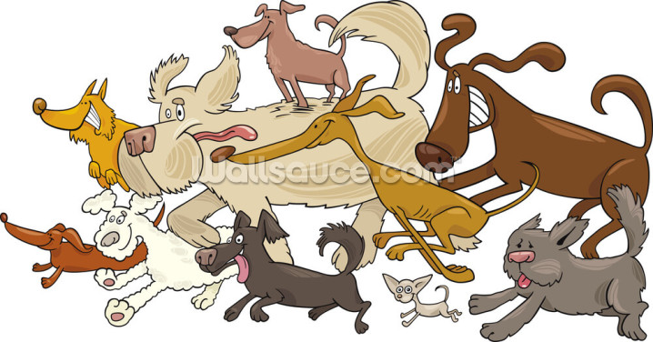 Dog Chase Wallpaper Wall Murals