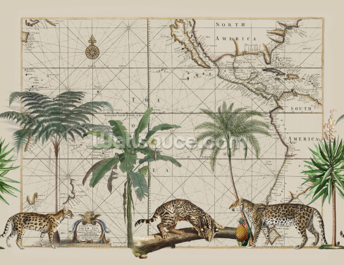 Wild Cats Prowling Wallpaper Wall Murals