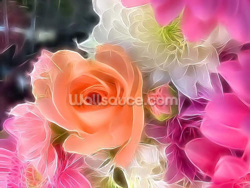 Pastel Rose Bouquet Wallpaper Wall Murals