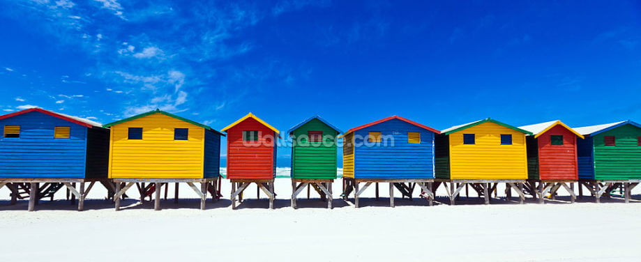 Colourful Beach Huts Wallpaper Wall Murals