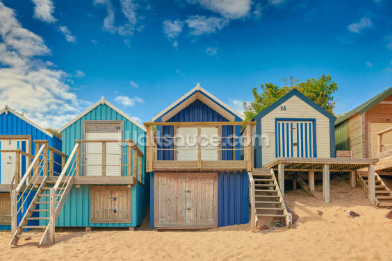 Beach Hut Bay Wallpaper Wall Murals