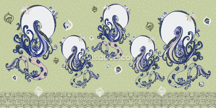 Mermaid Realm Pistachio Wallpaper Wall Murals