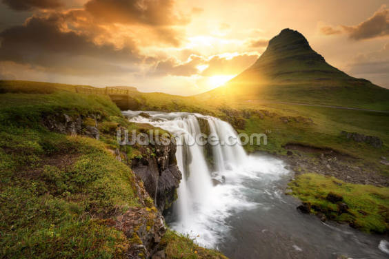 Icelandic Waterfall Sunset Wallpaper Wall Murals
