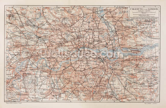 Map of London Wallpaper Wall Murals