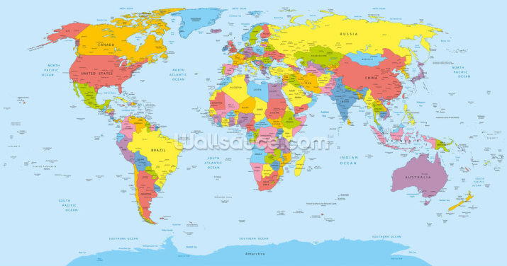Colourful World Map Wallpaper Wall Murals