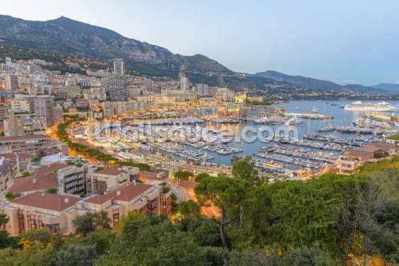 Monaco Sunset Ariel View Wallpaper Wall Murals