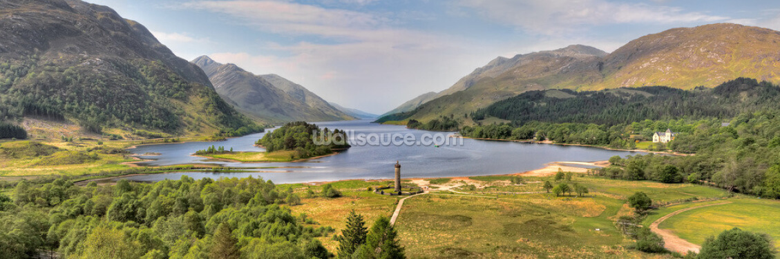 Panorama of Glenfinnan Monument and Loch Shiel Wallpaper Wall Murals