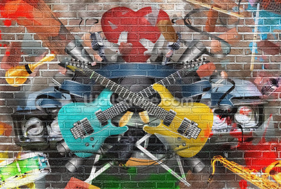Graffiti - Guitar Wallpaper Wall Murals
