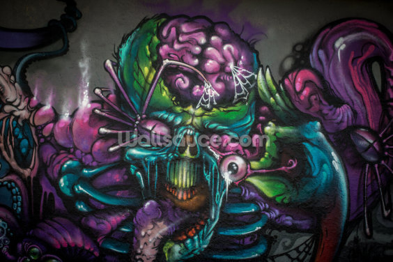 Graffiti - Alien Creature Wallpaper Wall Murals