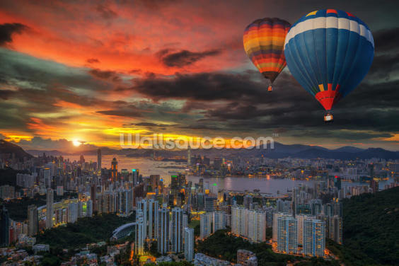 Hot Air Balloon over Hong Kong Wallpaper Wall Murals