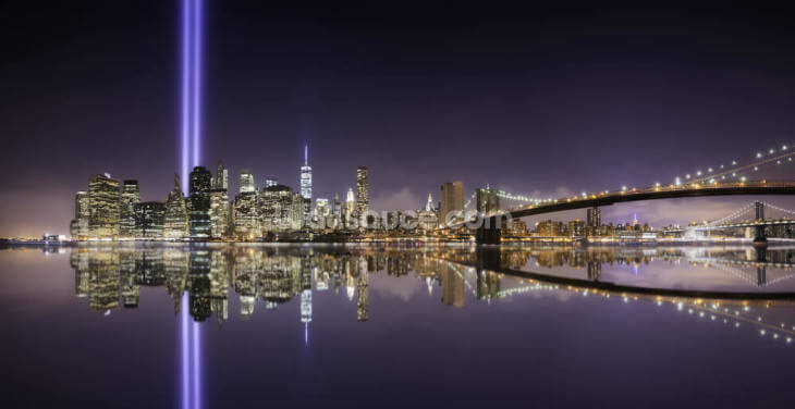 New York - Tribute Lights Brooklyn Bridge Wallpaper Wall Murals