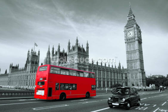 London Bus Colour Wash Wallpaper Wall Murals