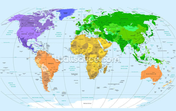 Vibrant World Map Wallpaper Wall Murals