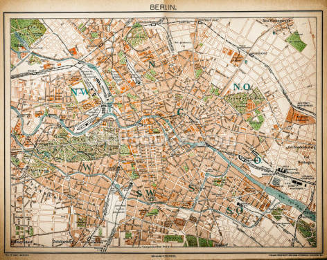 Map of Berlin 1893 Wallpaper Wall Murals