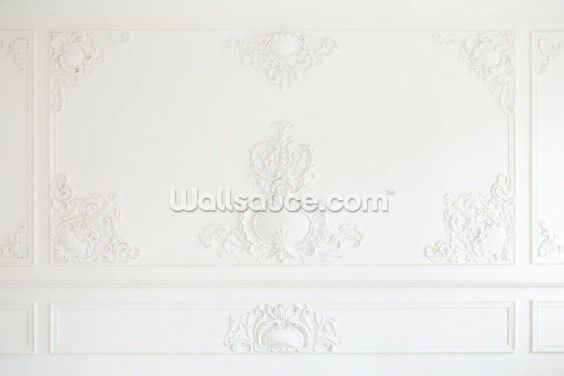 Ornate White Panel Wallpaper Wall Murals