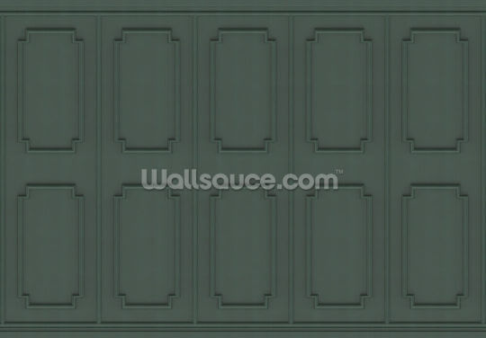 Dark Green Panels Wallpaper Wall Murals