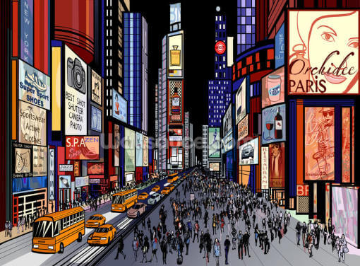 New York - Night View of Times Square Wallpaper Wall Murals