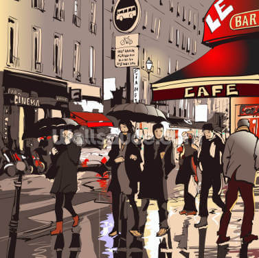 Street in Paris at Night Wallpaper Wall Murals
