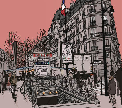 Paris Metro Station Retro Wallpaper Wall Murals