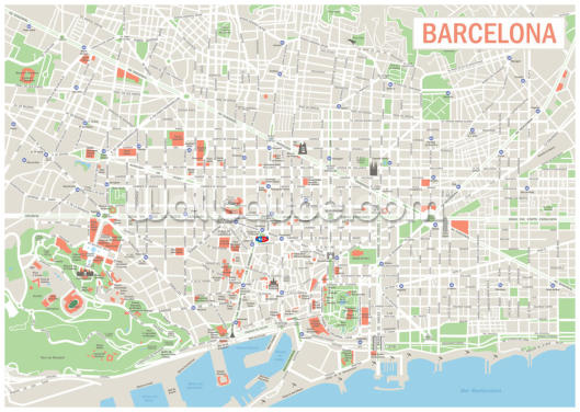 Map of Barcelona Wallpaper Wall Murals