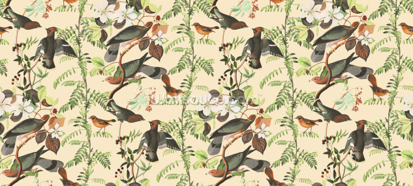 Woodland Bird Pattern Wallpaper Wall Murals