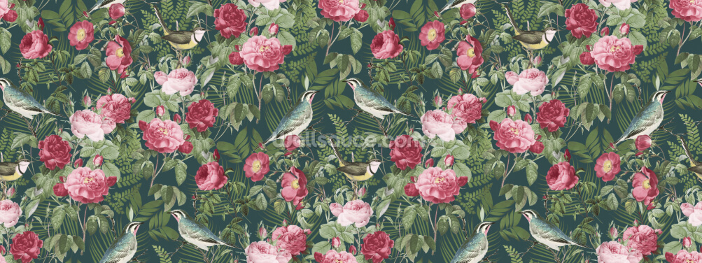 Redoute Roses and Birds Wallpaper Wall Murals