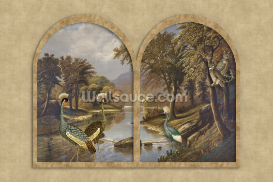 River with Cranes Wallpaper Wall Murals