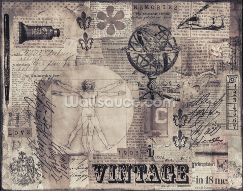 Vintage Collage Wallpaper Wall Murals