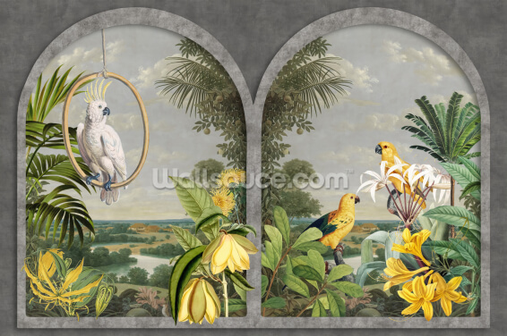 Window with Birds Wallpaper Wall Murals