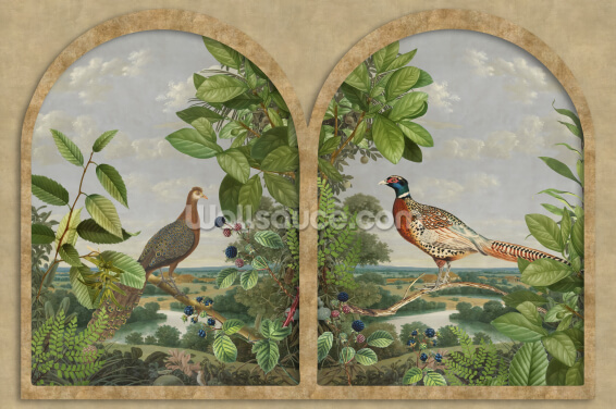 Window with Nordic Birds Wallpaper Wall Murals