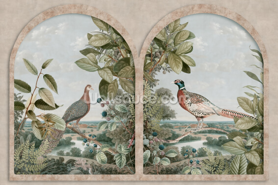Antique Window with Nordic Birds Wallpaper Wall Murals