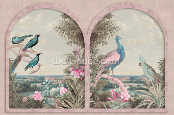 Pink Tinted Window with Tropical Birds Wallpaper Wall Murals