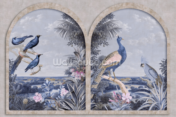 Blue Window with Tropical Birds Wallpaper Wall Murals