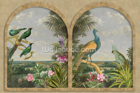 Window with Tropical Birds Wallpaper Wall Murals