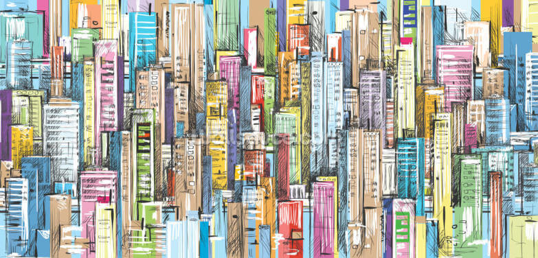 Cityscape. Hand drawn vector Wallpaper Wall Murals