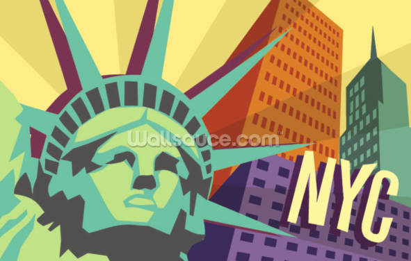 Illustration of New York City and Statue of Liberty Wallpaper Wall Murals