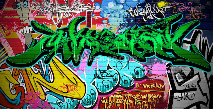 Graffiti Art Urban Green Wallpaper Wall Murals