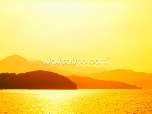 Sunset Beach and Mountains Wallpaper Wall Murals
