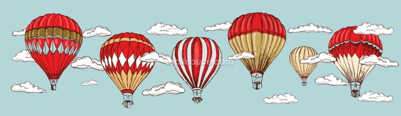 Vintage Hot Air Balloon Wallpaper Wall Murals