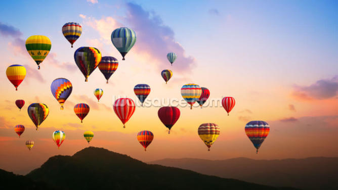Sunset Hot Air Balloons Wallpaper Wall Murals
