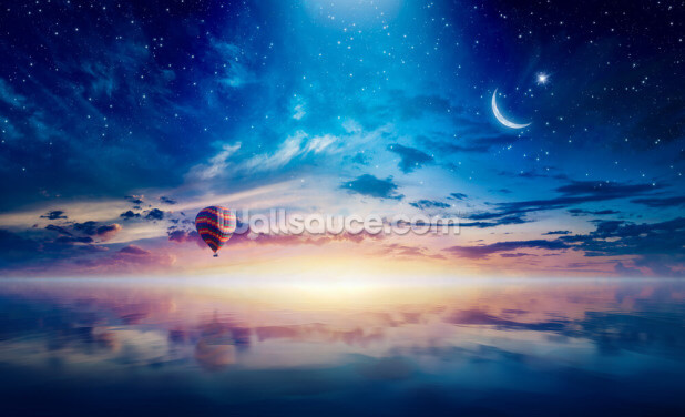 Midnight Hot Air Balloon Wallpaper Wall Murals