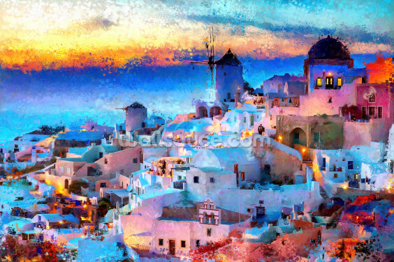 Digital Art Santorini Wallpaper Wall Murals