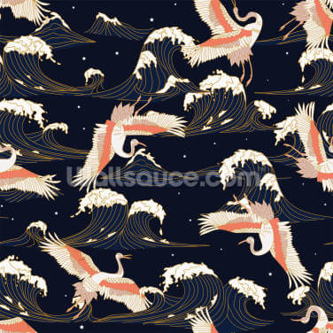 Navy Vintage Cranes Wallpaper Wall Murals