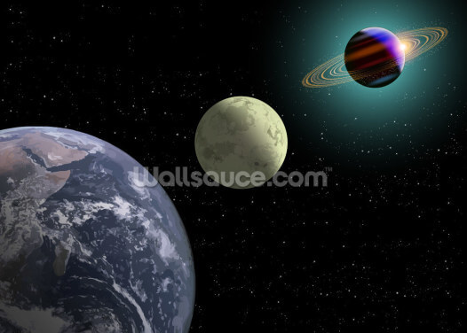 Earth Moon And Saturn Wallpaper Wall Murals